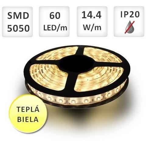 1m LED pásik do interiéru 60x SMD5050 14,4W/m teplá biela, IP20