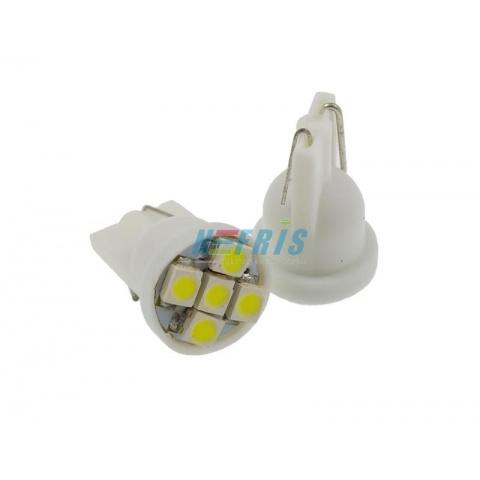 LED auto žiarovka T10 5 SMD3528 12V 0,3W studená biela