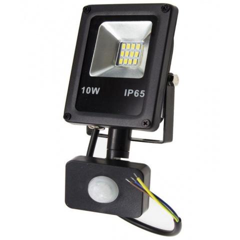 LED reflektor 10W + senzor pohybu, Studená biela