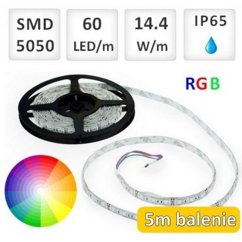 5m bal. RGB LED vodeodolný pásik 60 SMD5050 14.4W/m IP65