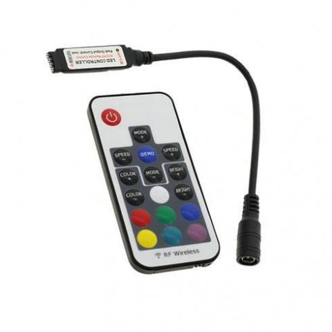 RF kontroler mini RGB 72W 12VDC 6A čierný