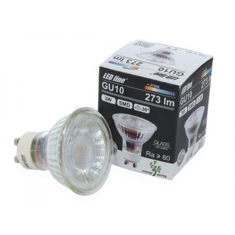 LED žiarovka 3W Studená biela 36° GU10