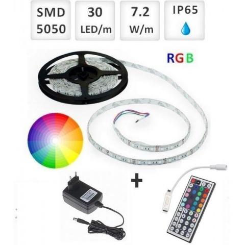Sada: 5m RGB LED pásik vodeodolný 30 SMD5050/m, 7.2W/m, IP65 + zdroj + RGB ovládač 44 tlač.