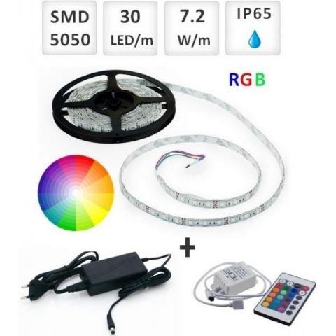 Sada: 5m RGB LED pásik vodeodolný 30 SMD5050/m, 7.2W/m, IP65 + zdroj + RGB ovládač 24 tlač.