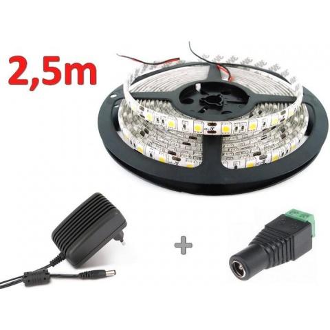 2.5m sada 12W LED pás do interiéru + zdroj, neutrálna biela