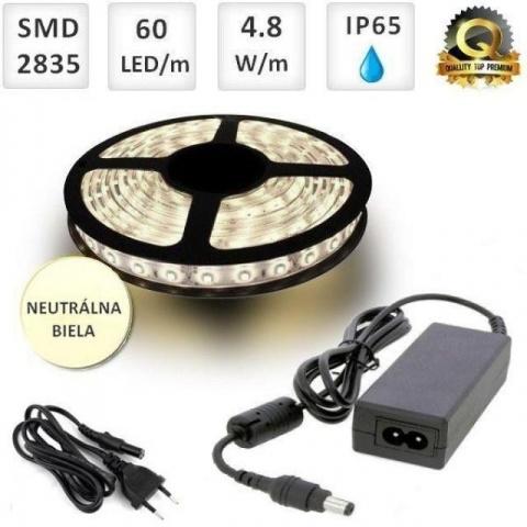 Sada: 5m vodeodolný LED pás + zdroj Neutrálna biela