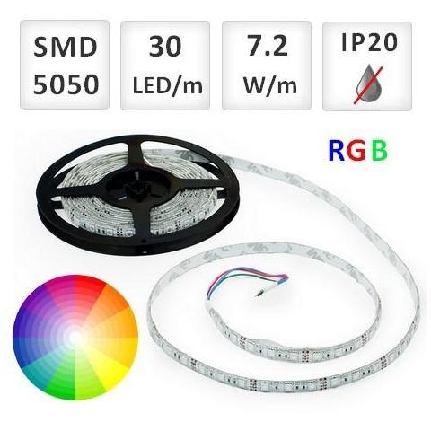 1m RGB LED pásik do interiéru 30 SMD5050 7.2W/m IP20