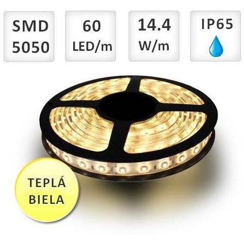 1m LED pásik 60 SMD5050 Teplá biela 14.4W vodeodolný IP65
