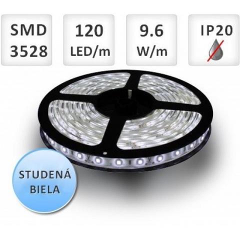 5m LED pásik do interiéru 120 SMD3528 9,6W studená biela, IP20