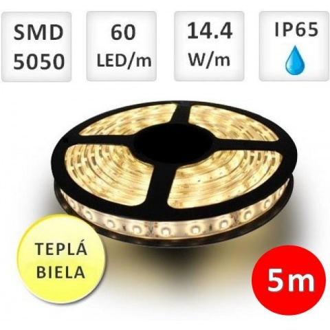 5m LED pásik 60 SMD5050 Teplá biela 14.4W vodeodolný IP65