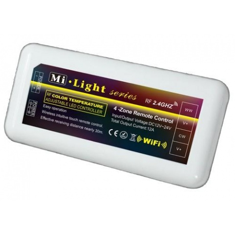 RF kontrolér pre jednofarebné LED pásiky 4-zóny