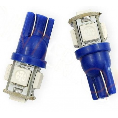LED auto žiarovka T10 5x SMD 5050 12V modrá