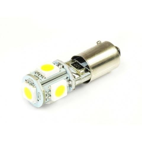 LED auto žiarovka T4W BA9s Canbus 5 SMD 5050, teplá biela