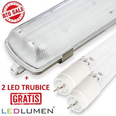 Prachotesné svietidlo 120cm s LED trubicami T8 2x18W studená biela