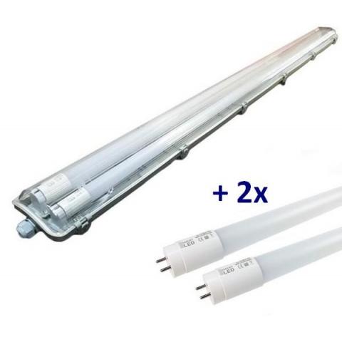 Prachotesné svietidlo 150cm s LED trubicami T8 2x22W studená biela