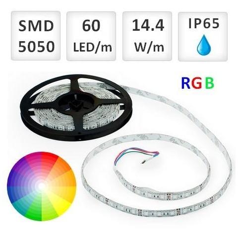 1m RGB LED pásik vodeodolný 60 SMD5050 14.4W/m IP65