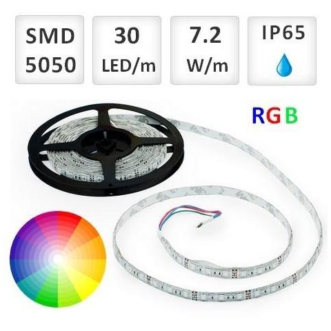 1m RGB LED pásik vodeodolný 30 SMD5050 7.2W/m IP65