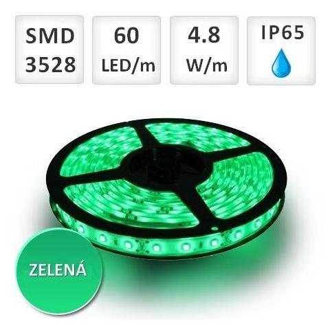 5m bal. zelený LED pás vodeodolný 60 SMD 3528 4.8W/m IP65