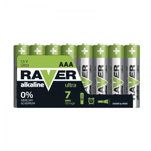 Batéria RAVER alkalická LR03 (AAA), 8 ks