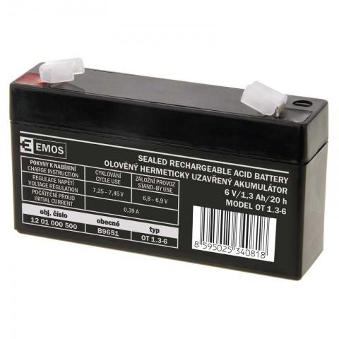 Olovený akumulátor 6V/1,3 Ah, AGM