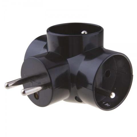 Zásuvka rozbočovacia 3x, guľatá - čierna