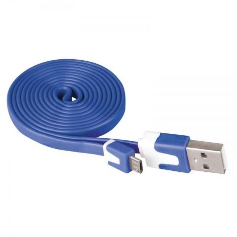 USB kábel 2.0 A/M - micro B/M 1m modrý