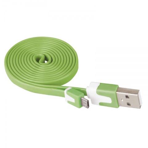 USB kábel 2.0 A/M - micro B/M 1m zelený