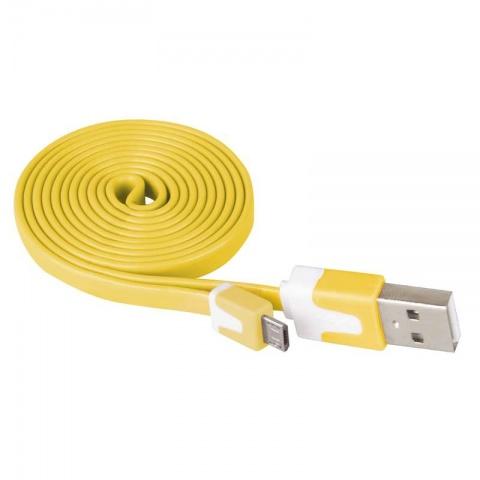 USB kábel 2.0 A/M - micro B/M 1m žltý