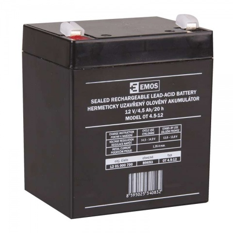 Olovený akumulátor 12V/4,5 Ah, AGM