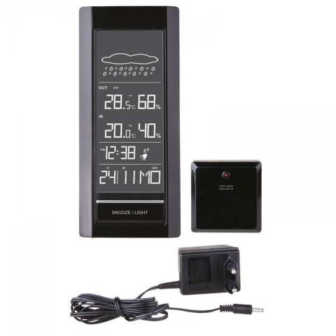 LCD domáca bezdrôtová meteostanica E4971B čierna