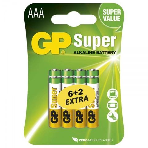 Batéria GP Super alkalická AAA, balenie 6+2 ZADARMO