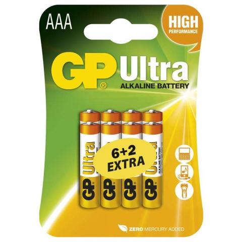 Batéria GP Ultra alkalická AAA, balenie 6+2 ZADARMO