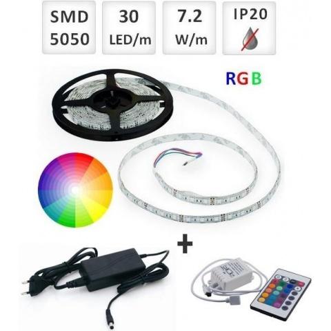 Sada: 5m RGB LED pásik do interieru 30 SMD5050/m, 7.2W/m, IP20  + zdroj + RGB ovládač 24 tlač.