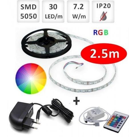 Sada: 2.5m RGB LED pásik do interieru 30 SMD5050/m, 7.2W/m, IP20 + zdroj + RGB ovládač