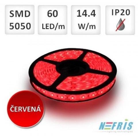5m červený LED pásik 60 SMD5050 14.4W IP20