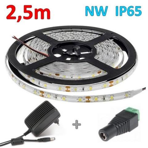 2.5m sada 12W vodeodolný LED pás + zdroj, neutrálna biela