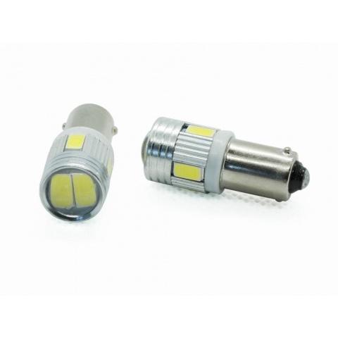 LED auto žiarovka BA9s 6xSMD5630 šošovka