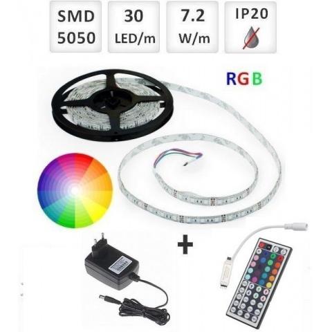 Sada: 5m RGB LED pásik do interieru 30 SMD5050/m, 7.2W/m, IP20  + zdroj + RGB ovládač 44 tlač.