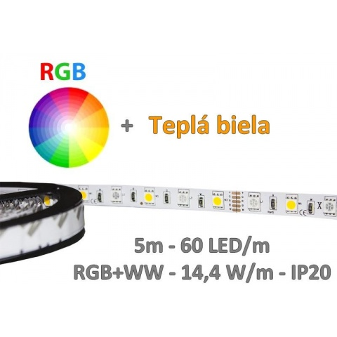 5m LED pás - RGB+WW -  60 LED/m SMD5050 - 14,4 W/m - IP20