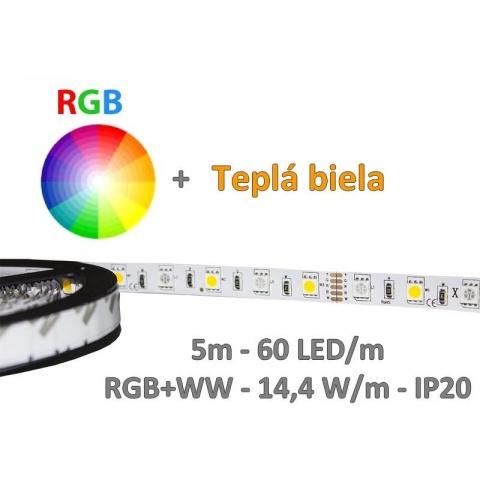 5m LED pás - RGB+WW - 60 LED/m SMD5050 - 14,4 W/m - IP20