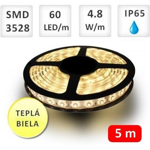 5m bal. LED pásik vodeodolný 60 SMD3528 4.8W/m teplá biela IP65