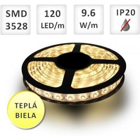 5m LED pásik do interiéru 120 SMD3528 9,6W/m teplá biela, IP20