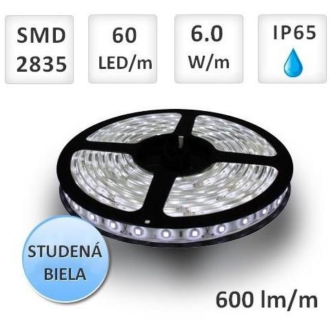 1m LED pásik vodeodolný 60 SMD 2835 6W/m Studená biela IP65 (max. 25m)