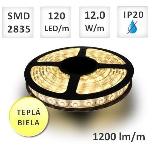 1m LED pás do interiéru 120 SMD2835 12W/m teplá biela IP20 (max.50m)