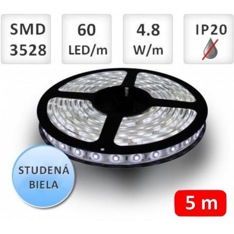 5m bal. LED pás do interieru 60 SMD2835 4.8W/m studená biela IP20