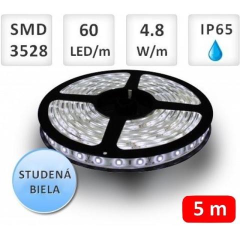 5m bal. LED pásik vodeodolný 60 SMD3528 4.8W/m studená biela IP65