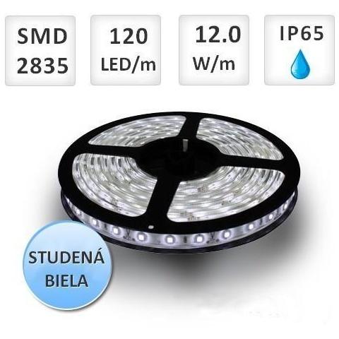 1m LED pás vodeodolný 120 SMD2835 12W/m Studená biela IP65 (max. 25m)