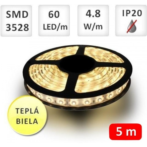 5m bal. LED pás do interieru 60 SMD 3528 4.8W/m teplá biela IP20