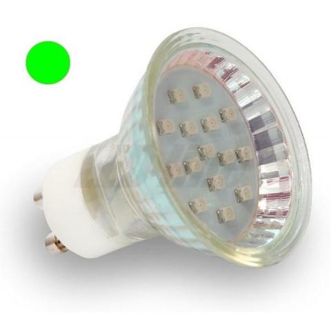 LED žiarovka 15 SMD 3528, 1W Zelená, GU10