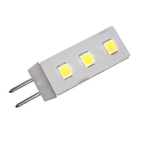 LED žiarovka 0.5W 3 led smd 2835 12V DC teplá biela G4